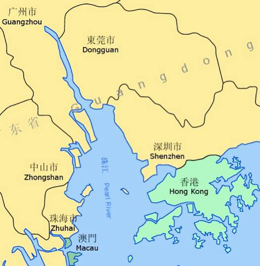 Pearl River Delta Showing Location Of Hong Kong And Macau. Courtesy: Mapsof.net