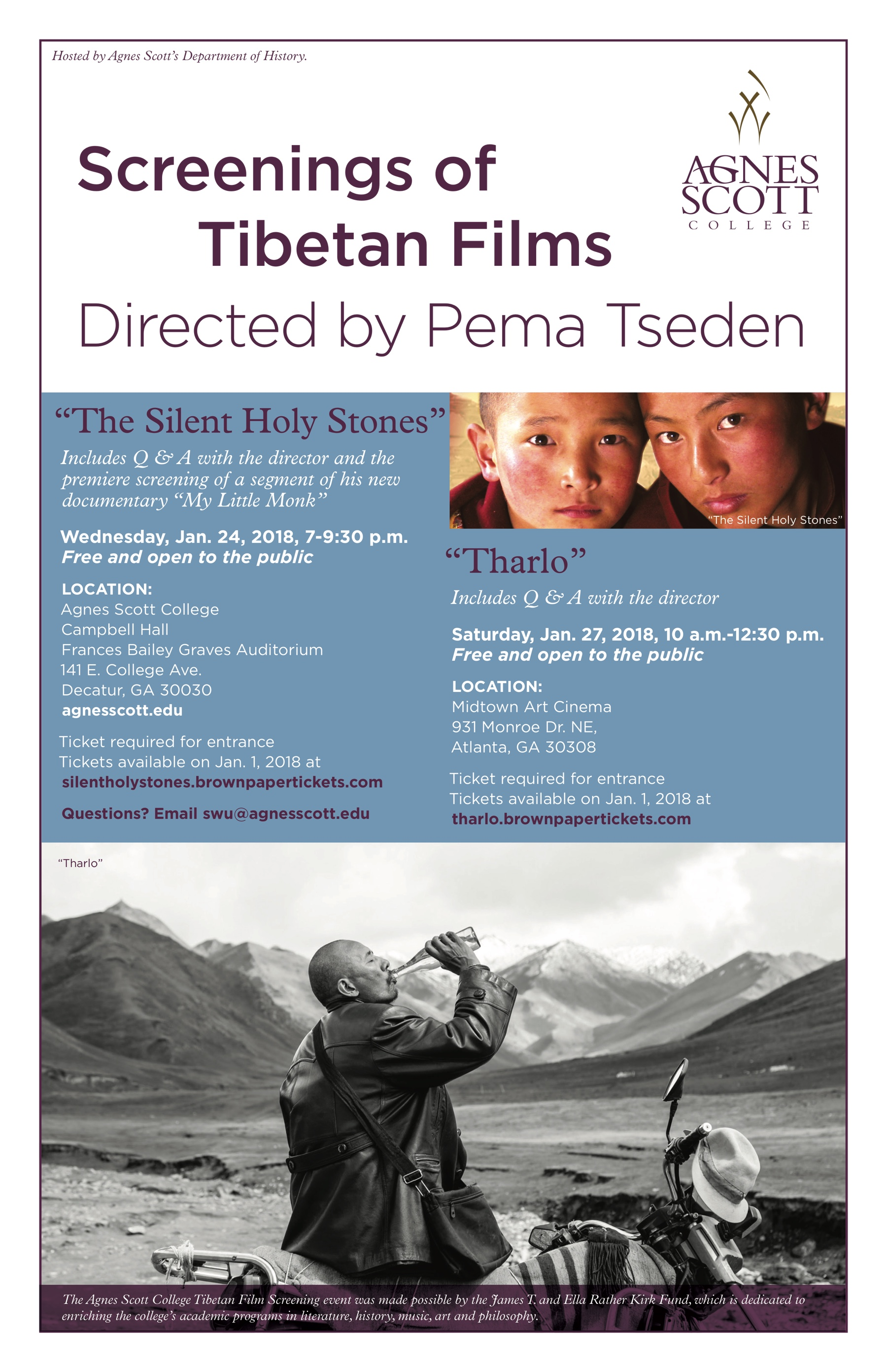 Screening Of Tibetan Films At Agnes Scott College